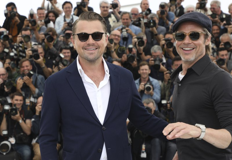 Actors Leonardo DiCaprio, left, poses for photographers at the photo call for the film 'Once Upon a Time in Hollywood' at the 72nd international film festival, Cannes, southern France, Wednesday, May 22, 2019. (Photo by Vianney Le Caer/Invision/AP)