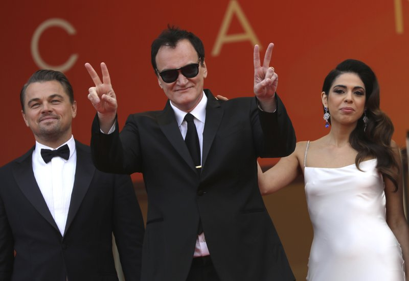 Actor Leonardo DiCaprio, from left, director Quentin Tarantino and Daniela Pick pose for photographers upon arrival at the premiere of the film 'Once Upon a Time in Hollywood' at the 72nd international film festival, Cannes, southern France, Tuesday, May 21, 2019. (Photo by Vianney Le Caer/Invision/AP)