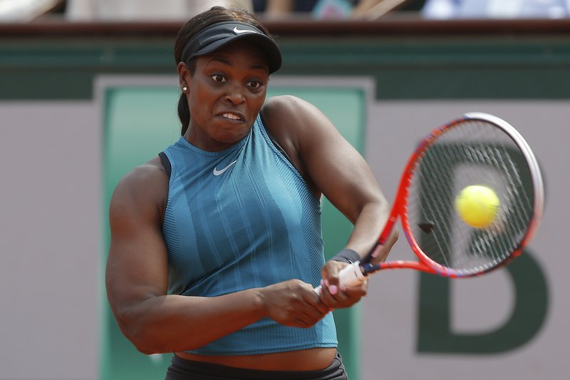 FILE - In this June 9, 2018, file photo, Sloane Stephens, of the United States, returns a shot against Romania's Simona Halep in the finals of the French Open tennis tournament at the Roland Garros stadium in Paris, France. (AP Photo/Michel Euler, File)