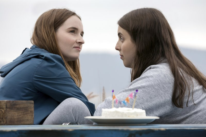 This image released by Annapurna Pictures shows Kaitlyn Dever, left, and Beanie Feldstein in a scene from the film