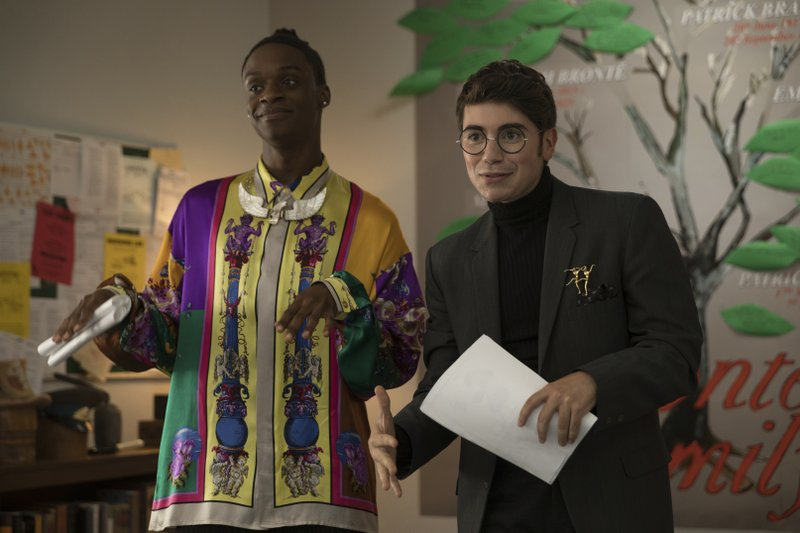 This image released by Annapurna Pictures shows Austin Crute, left, and Noah Galvin in a scene from the film