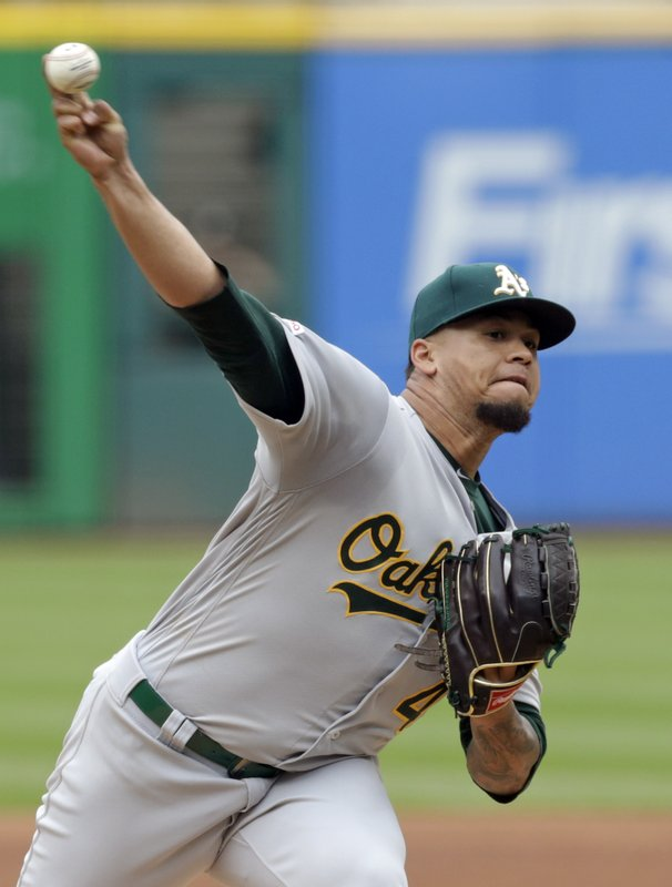 Oakland Athletics starting pitcher Frankie Montas delivers in the first inning of a baseball game against the Cleveland Indians, Wednesday, May 22, 2019, in Cleveland. (AP Photo/Tony Dejak)