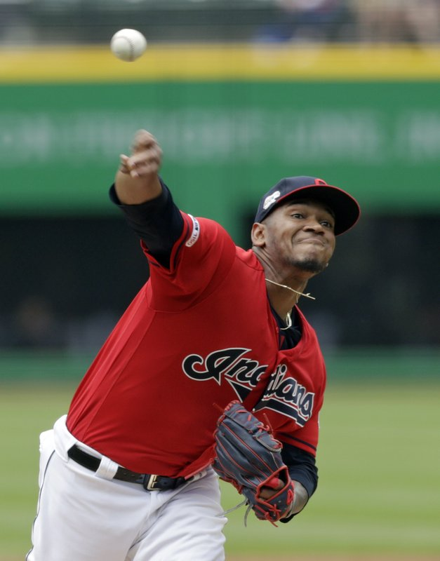 Cleveland Indians starting pitcher Jefry Rodriguez delivers in the first inning of a baseball game against the Oakland Athletics, Wednesday, May 22, 2019, in Cleveland. (AP Photo/Tony Dejak)