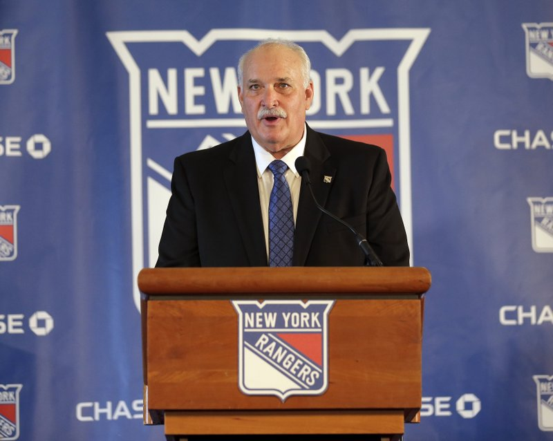 John Davidson, the new president of the New York Rangers, speaks during a news conference in New York, Wednesday, May 22, 2019. Davidson was hired as team president Friday hours after leaving his post with the Columbus Blue Jackets. He returns to New York where he spent parts of eight seasons as a Rangers goaltender and was a TV analyst for almost a decade. (AP Photo/Seth Wenig)