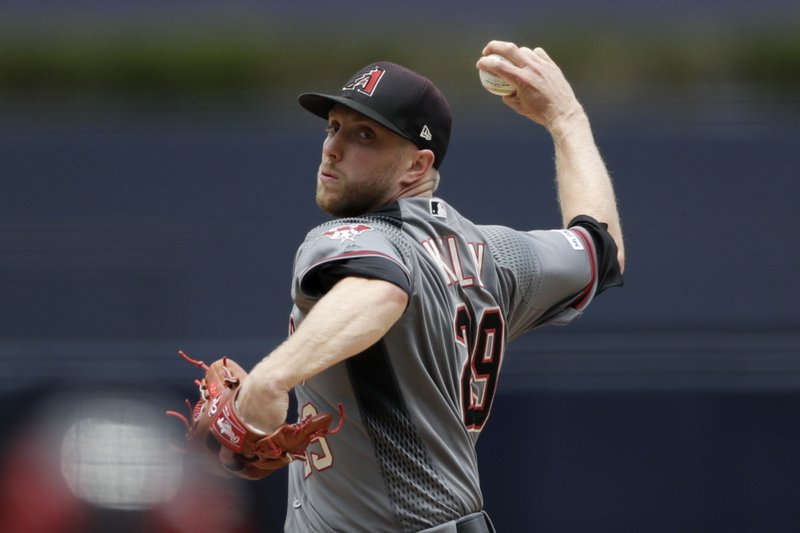 Arizona Diamondbacks starting pitcher Merrill Kelly works against a San Diego Padres batter during the first inning of a baseball game Wednesday, May 22, 2019, in San Diego. (AP Photo/Gregory Bull)