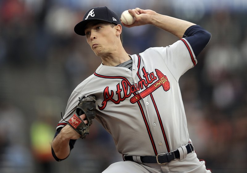 Atlanta Braves pitcher Max Fried works against the San Francisco Giants during the first inning of a baseball game Wednesday, May 22, 2019, in San Francisco. (AP Photo/Ben Margot)
