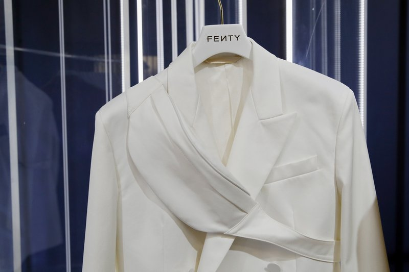 "A creation is displayed as Singer Rihanna, the first black woman in history to head up a major Parisian luxury house, unveiled her first fashion designs for Fenty at a pop-up store in Paris, France, Wednesday, May 22, 2019. Fenty says the brand will be based in Paris, like its parent company, conglomerate LVMH, but will operate from a digital flagship on a ""See-Now-Wear-Now"" model forgoing to usual luxury fashion seasonal previewed designs. (AP Photo/Francois Mori)"