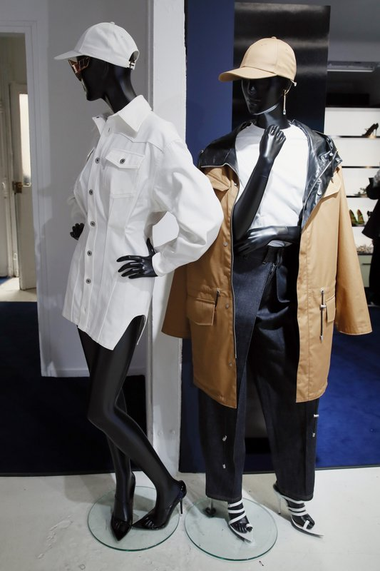 "Creation are displayed as Singer Rihanna, the first black woman in history to head up a major Parisian luxury house, unveiled her first fashion designs for Fenty at a pop-up store in Paris, France, Wednesday, May 22, 2019. Fenty says the brand will be based in Paris, like its parent company, conglomerate LVMH, but will operate from a digital flagship on a ""See-Now-Wear-Now"" model forgoing to usual luxury fashion seasonal previewed designs. (AP Photo/Francois Mori)"