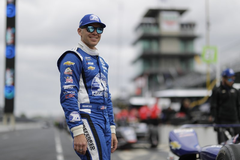 Ed Carpenter waits in the pit area before the start of practice for the Indianapolis 500 IndyCar auto race at Indianapolis Motor Speedway, Monday, May 20, 2019, in Indianapolis. (AP Photo/Darron Cummings)