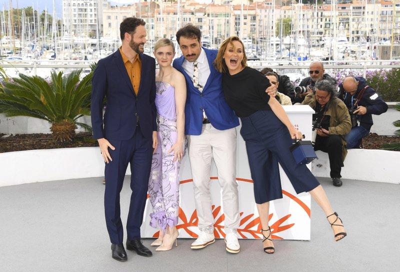 Actor Kyle Marvin, from left, actress Gayle Rankin, writer/director Michael Angelo Covino and actress Judith Godreche pose at the photo call for