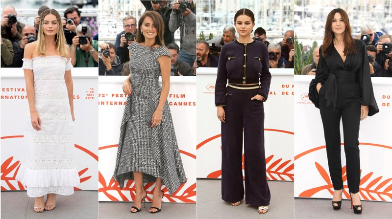 This combination photo shows Australian actress Margot Robbie, Spanish actress Penelope Cruz, American actress Selena Gomez and Italian actress Monica Bellucci posing at photo calls for their films during the Cannes Film Festival. (AP Photo)