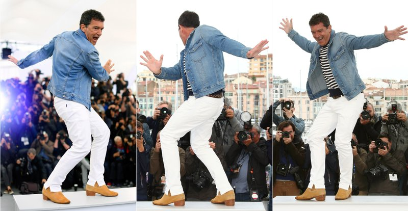 This combination photo shows Spanish actor Antonio Banderas dancing at the photo call for