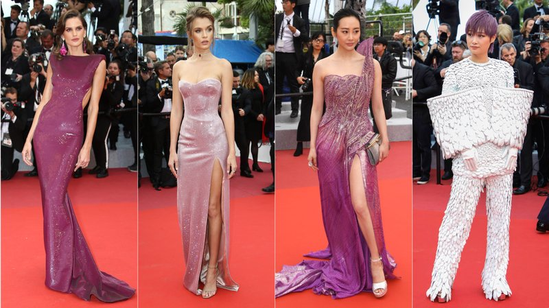 This combination photo shows Brazilian model Izabel Goulart, Danish model Josephine Skriver, Chinese actress Chun Li and Chinese singer-actress Chris Lee on the red carpet during the Cannes Film Festival. (AP Photo)