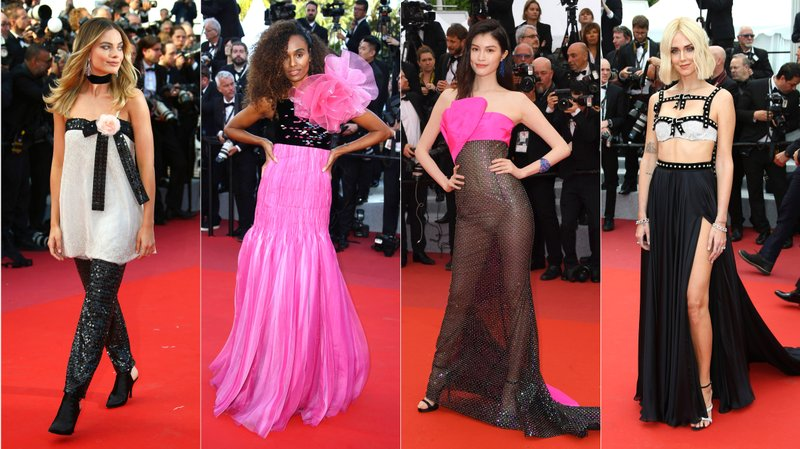 This combination photo shows Australian actress Margot Robbie, model Gelila Bekele, Chinese model Sui He and Italian designer Chiara Ferragni on the red carpet during the Cannes Film Festival. (AP Photo)