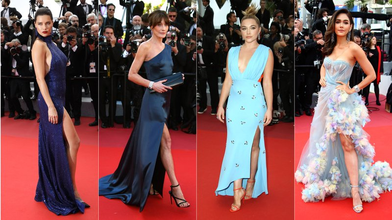 This combination photo shows Brazilian model Adriana Lima, French singer Carla Bruni Sarkozy, English actress Florence Pugh and Thai actress Araya A. Hargate on the red carpet during the Cannes Film Festival. (AP Photo)