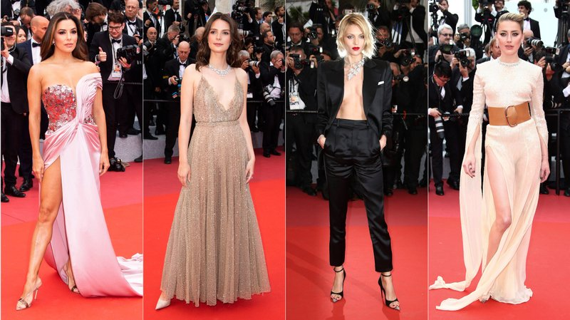 This combination photo shows American actress Eva Longoria, French actress Josephine Japy, Polish model Anja Rubik and American actress Amber Heard on the red carpet during the Cannes Film Festival. (AP Photo)