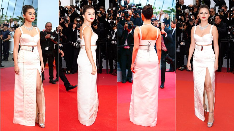 This combination photo shows American actress and singer Selena Gomez at the opening ceremony and the premiere of