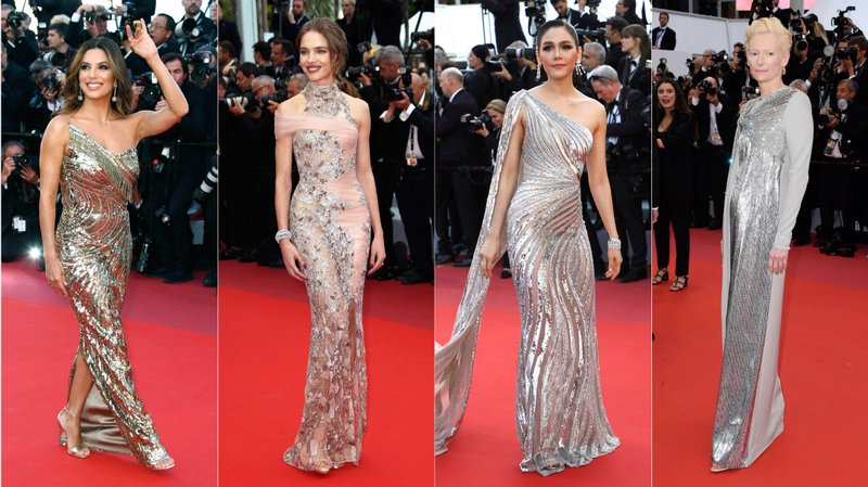 This combination photo shows American actress Eva Longoria, Russian model Natalia Vodianova, Araya A. Hargate and actress actress Tilda Swinton on the red carpet during the Cannes Film Festival. (AP Photo)