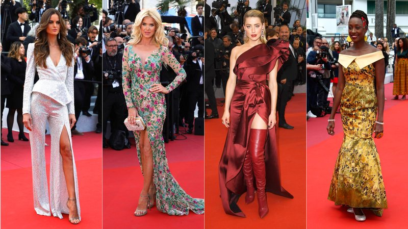 This combination photo shows Brazilian model Izabel Goulart, Swedish model Victoria Silvstedt, American actress Amber Heard and Senegalese actress  Maimouna N'Diaye on the red carpet during the Cannes Film Festival. (AP Photo)