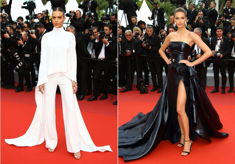 This combination photo shows models Josephine Skriver and Noel Berry on the red carpet during the Cannes Film Festival. (AP Photo)