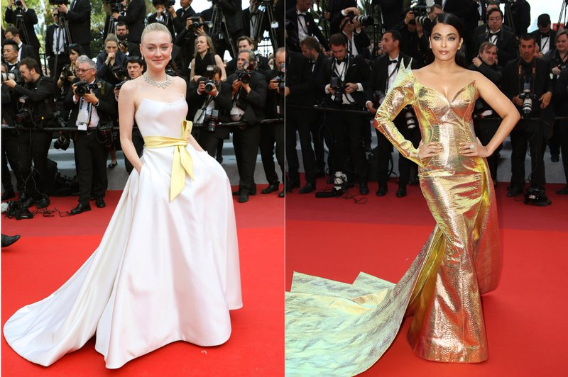 This combination photo shows on the red carpet during the Cannes Film Festival. (AP Photo)