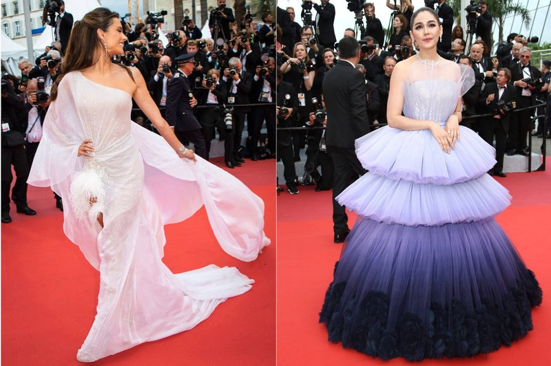 This combination photo shows Brazilian model Alessandra Ambrosio and actress Araya A. Hargate on the red carpet during the Cannes Film Festival. (AP Photo)