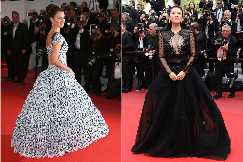 This combination photo shows Spanish actress Penelope Cruz and Chinese actress  Zhang Ziyi on the red carpet during the Cannes Film Festival. (AP Photo)
