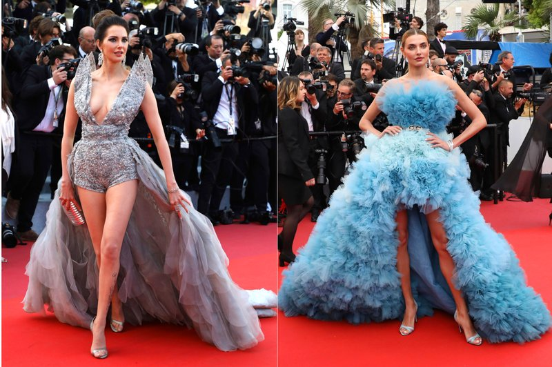 This combination photo shows Frederique Bel and Alina Baikova on the red carpet during the Cannes Film Festival. (AP Photo)