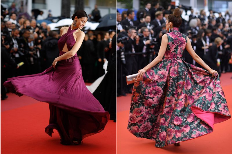 This combination photo shows actress Marica Pellegrinelli and actress Blanca Blanco on the red carpet during the Cannes Film Festival. (AP Photo)