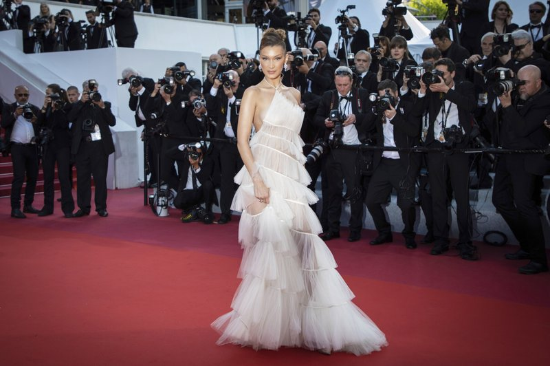 American model Bella Hadid arrives at the premiere of