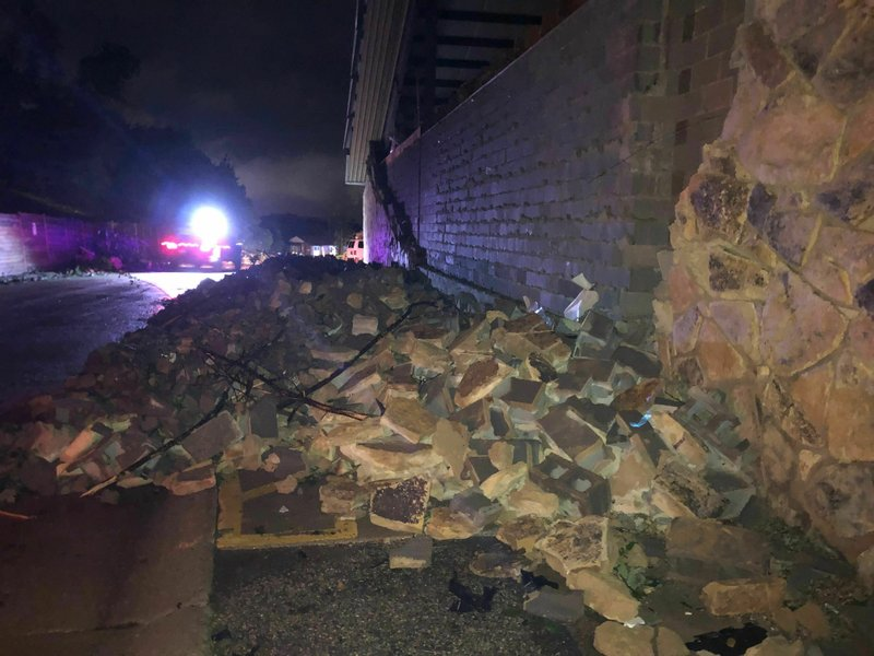 A wall is collapsed in Jefferson City, Missouri on Thursday May 23, 2019. The U.S. National Weather Service says a