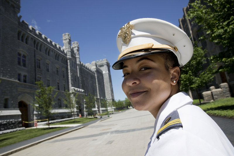 In this May 22, 2019 photo, Gabrielle Young, of Hopkins, South Carolina, poses at the U.S. Military Academy in West Point, N.Y.