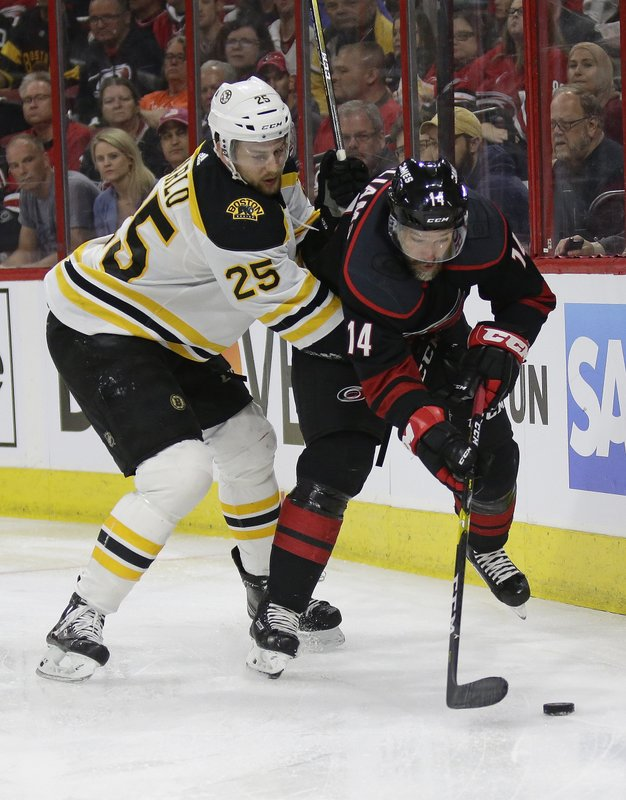 Boston Bruins' Brandon Carlo (25) and Carolina Hurricanes' Justin Williams (14) skate for the puck during the second period in Game 3 of the NHL hockey Stanley Cup Eastern Conference final series in Raleigh, N.C., Tuesday, May 14, 2019. (AP Photo/Gerry Broome)