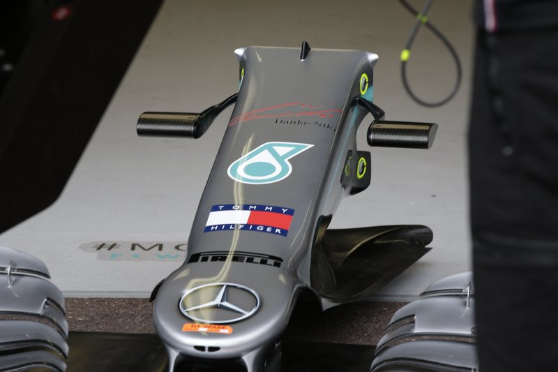 A part of Mercedes driver Lewis Hamilton of Britain car with German that reads,