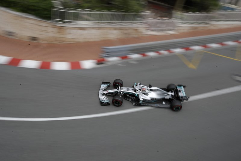 Mercedes driver Lewis Hamilton of Britain steers his car during the second practice session at the Monaco racetrack, in Monaco, Thursday, May 23, 2019. The Formula one race will be held on Sunday. (AP Photo/Luca Bruno)