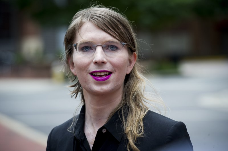 FILE - In this May 16, 2019, file photo. former Army intelligence analyst Chelsea Manning speaks with reporters, outside federal court in Alexandria, Va. (AP Photo/Cliff Owen, File)