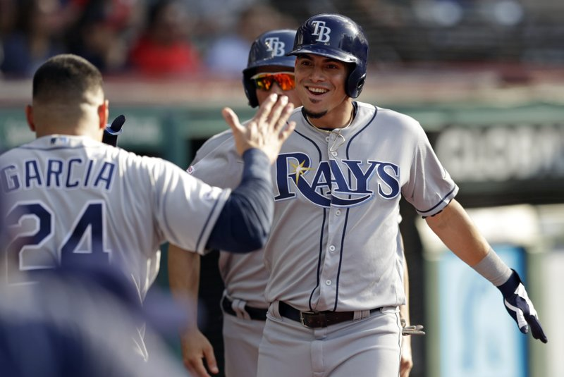 Tampa Bay Rays' Willy Adames, right, is congratulated by Avisail Garcia after Adames hit a solo home run off Cleveland Indians starting pitcher Adam Plutko during the second inning of a baseball game Thursday, May 23, 2019, in Cleveland. (AP Photo/Tony Dejak)