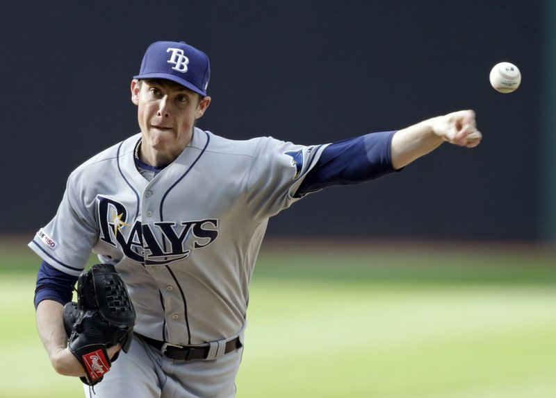 Tampa Bay Rays starting pitcher Ryan Yarbrough delivers in the first inning of the team's baseball game against the Cleveland Indians, Thursday, May 23, 2019, in Cleveland. (AP Photo/Tony Dejak)