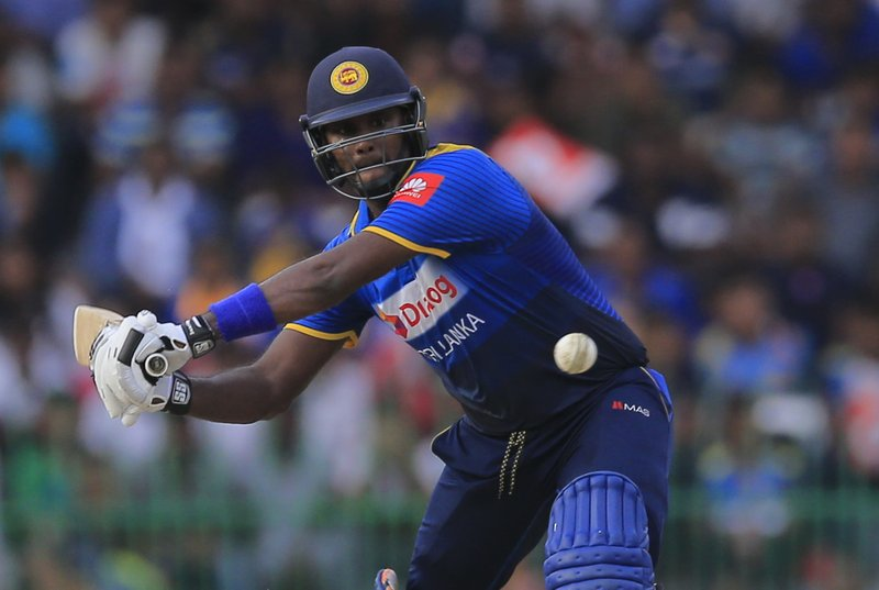 FILE - In this Sunday, Aug. 12, 2018 file photo, Sri Lanka's Angelo Mathews plays a shot against South Africa during their fifth one-day international cricket match with Sri Lanka in Colombo, Sri Lanka. The 2019 Cricket World Cup starts in England on May 31. (AP Photo/Eranga Jayawardena, File)