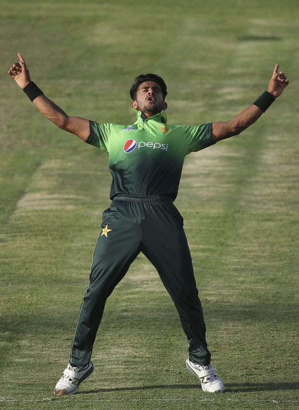 FILE - In this Friday, Oct. 20, 2017 file photo, Pakistan'n Hassan Ali celebrates the dismissal of Sri Lanka's Akila Dananjaya during their third ODI cricket match in Sharjah, United Arab Emirates. The 2019 Cricket World Cup starts in England on May 31. (AP Photo/Kamran Jebreili, File)
