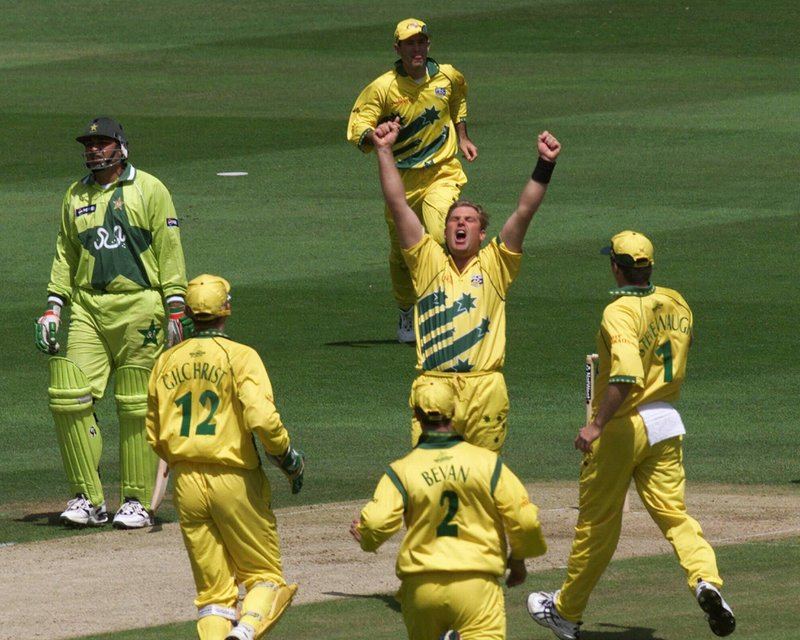 FILE - In this Sunday,  June 20, 1999 file photo, Australia's Shane Warne celebrates taking the wicket of Pakistan's Ijaz Ahmed during the final of the Cricket World Cup between Australia and Pakistan at Lords in London. Pakistan's Inzimam -ul-Haq at left looks on. Warne was the star with four wickets in the final as Australia bowled out Pakistan for 132 at Lord's and eased to 133-2 from 20 overs thanks to Adam Gilchrist's 54 from 36 balls. (AP Photo/Alastair Grant, File)