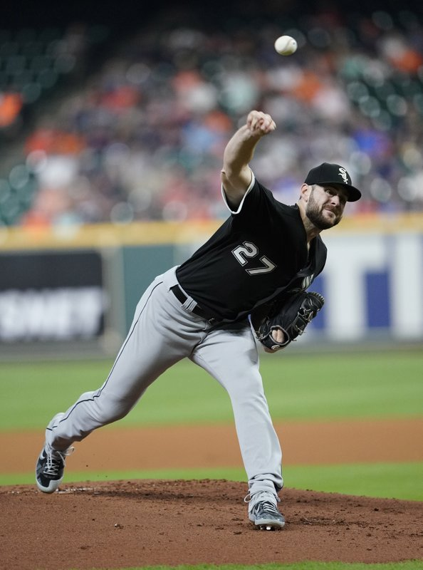 Chicago White Sox starting pitcher Lucas Giolito throws to a Houston Astros batter during the first inning of a baseball game Thursday, May 23, 2019, in Houston. (AP Photo/David J. Phillip)