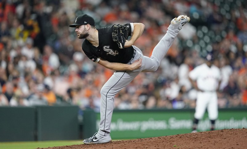Chicago White Sox starting pitcher Lucas Giolito throws during the fifth inning of a baseball game against the Houston Astros on Thursday, May 23, 2019, in Houston. (AP Photo/David J. Phillip)
