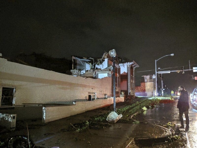 This image posted on Twitter account of Stechshultsy shows tornado-hit Jefferson City. MO., Thursday, May 23, 2019. The National Weather Service has confirmed a large and destructive tornado has touched down in Missouri's state capital, causing heavy damage and trapping multiple people in the wreckage of their homes. (Stechshultsy via AP)