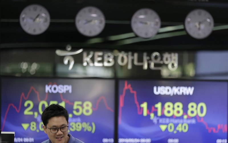 A currency trader talks near the screens showing the Korea Composite Stock Price Index (KOSPI), left, and the foreign exchange rate between U.S. dollar and South Korean won at the foreign exchange dealing room in Seoul, South Korea, Friday, May 24, 2019. Asian shares were mostly lower on Friday as worries that the standoff between the U.S. and China over trade might expand put investors in a selling mood. (AP Photo/Lee Jin-man)