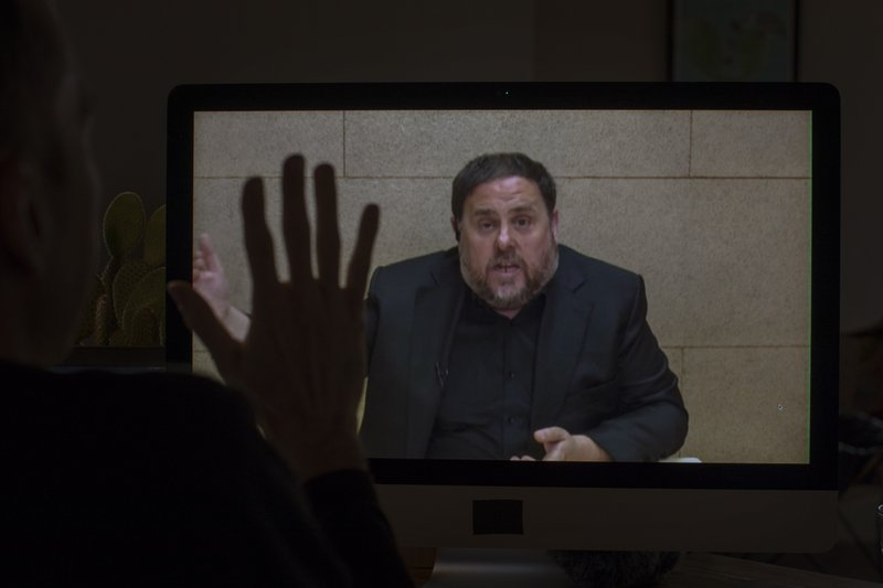 The leader of the Catalan ERC party and European Parliament candidate Oriol Junqueras speaks from Soto del Real prison in Madrid, on Friday, May 24, 2019, during an interview via video conference with The Associated Press in Barcelona, Spain. (AP Photo/Emilio Morenatti)