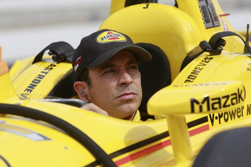Helio Castroneves, of Brazil, sits in his car before the start of the final practice session for the Indianapolis 500 IndyCar auto race at Indianapolis Motor Speedway, Friday, May 24, 2019, in Indianapolis. (AP Photo/R Brent Smith)