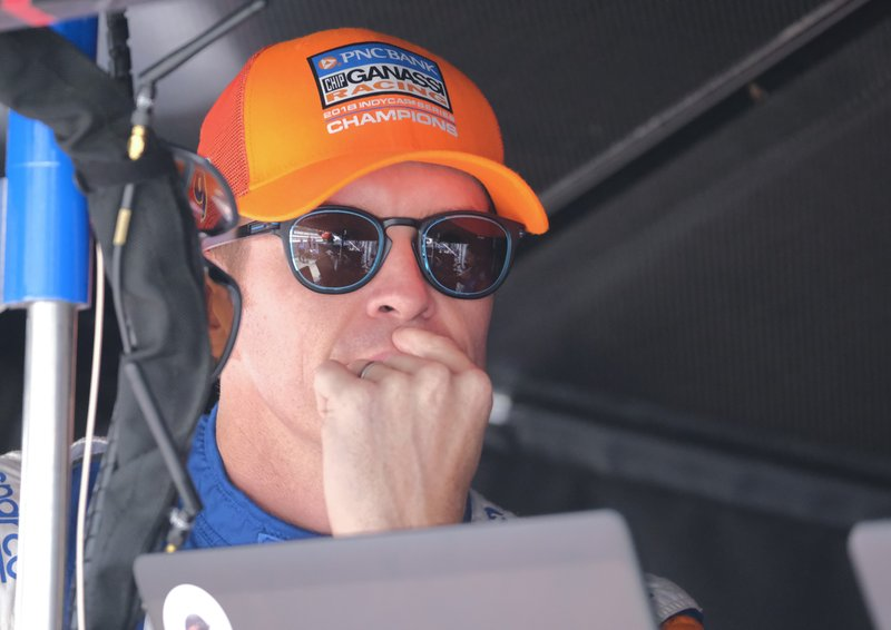 Scott Dixon, of New Zealand, waits for the start of the final practice session for the Indianapolis 500 IndyCar auto race at Indianapolis Motor Speedway, Friday, May 24, 2019, in Indianapolis. (AP Photo/AJ Mast)