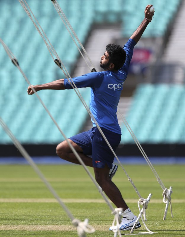 India's Jasprit Bumrah bowls in the nets during a training session at The Oval in London, Thursday, May 23, 2019. The Cricket World Cup starts on Thursday May 30. (AP Photo/Aijaz Rahi)