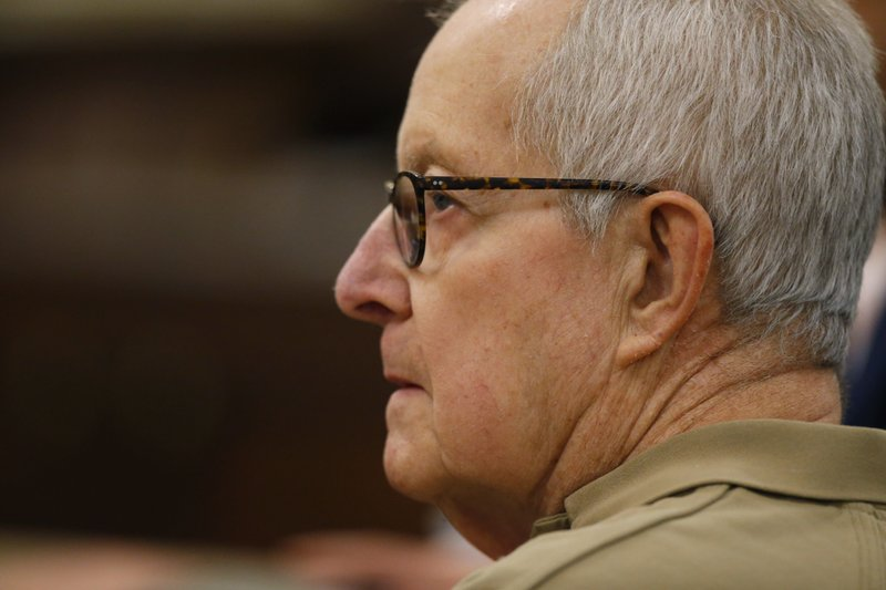 Former priest Ronald Paquin attends his sentencing York County Superior Court, Friday, May  23, 2019, in Alfred, Maine. The defrocked Massachusetts priest was convicted for sexually abusing an altar boy years ago. Paquin spent more than 10 years in a prison in Massachusetts for sexually abusing another altar boy in that state. (AP Photo/Robert F. Bukaty)